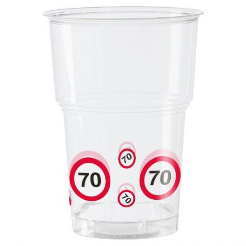 Traffic Sign 70th Party Cups 10s Birthday Tableware Table Disposable